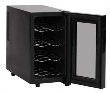 AMSTYLE Design Weinkühlschrank 23 Liter 8°C-18°C - 8 Flaschen Weinkühler schwarz (Energieklasse: A) -
