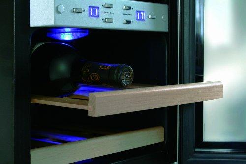 CASO WineDuett 12 Design Weinkühlschrank für bis zu 12 Flaschen (bis zu 310 mm Höhe), zwei Temperaturzonen 7-18°C -