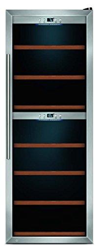 CASO WineMaster 126 Design Weinkühlschrank für bis zu 126 Flaschen (bis zu 310 mm Höhe), zwei Temperaturzonen 5-22°C, Energieklasse B -