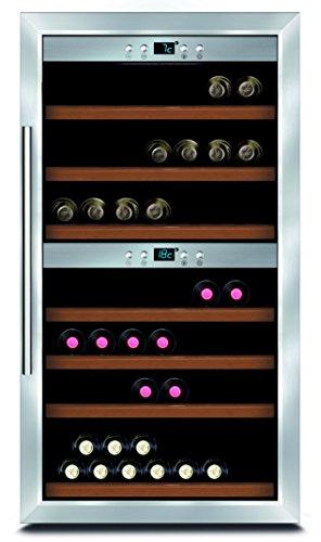 Caso WineComfort 66 Design Weinkühlschrank für bis zu 66 Flaschen (bis zu 310 mm Höhe), zwei Temperaturzonen 5-22°C, Energieklasse A -
