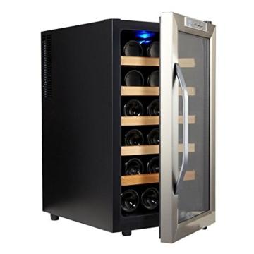 Kalamera KR-18ASS Edelstahl Weinkuehlschrank 48 Liter 18 Flasche Weinklimakuehschrank Minibar Freistehend  Temperaturzonen 8-18 -