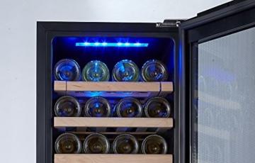 Kalamera KRC-33DZF Design Weinkühlschrank für bis zu 33 Flaschen (bis zu 310 mm Höhe),zwei Temperaturzonen ,5-18°C,(100 Liter, LED Bedienoberfläche, 2 Kühlzonen, Edelstahl)[Energieklasse B] -
