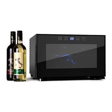 Klarstein Reserva Piccola Mini Weinkühlschrank kleiner Getränkekühlschrank für 8 Weinflaschen (LED-Innenraumbeleuchtung, Touch-Bedienung, Doppelt isolierte Glastür, Temperaturanzeige) schwarz -