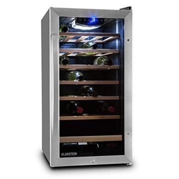 Klarstein Vivo Vino 26 Weinkühlschrank Weinlagerfach Weinflaschen Kühlschrank 26 Flaschen Wein (88 Liter, doppelt isolierte Edelstahl-Glastür, Touch-Armatur, LED-Innenraumbeleuchtung, niedriges Betriebsgeräusch, sehr kompakt, regelbare Kühltemperatur) -