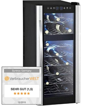 Syntrox Germany 21 Flaschen 2 Zonen Digitaler Getränkekühlschrank Weinkühlschrank -